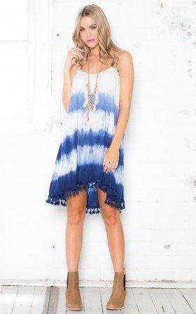 High-Low-Hem Tie Dye Print  Dress