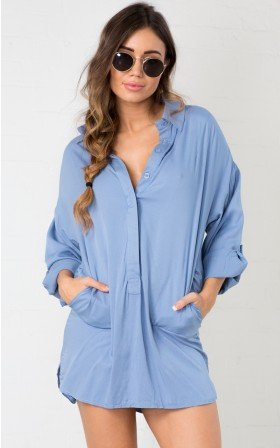 Summer Winter Asymmetric Pocketed Viscose Short  Shirt  Dress