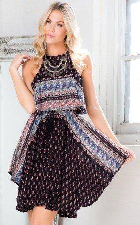 General Print Flowy Asymmetric  Dress