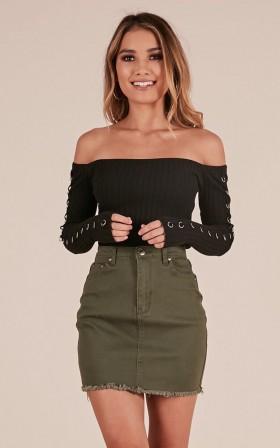 Outside Today denim skirt in khaki