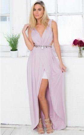 Jeweled Illusion Grecian Cutout Maxi Dress