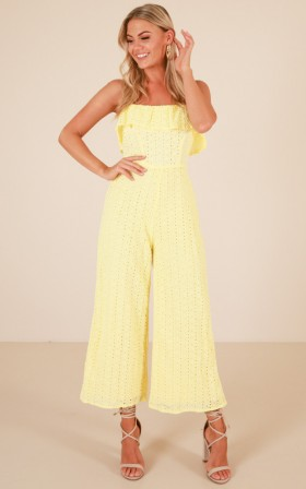 Turn Your Back jumpsuit in yellow embroidery
