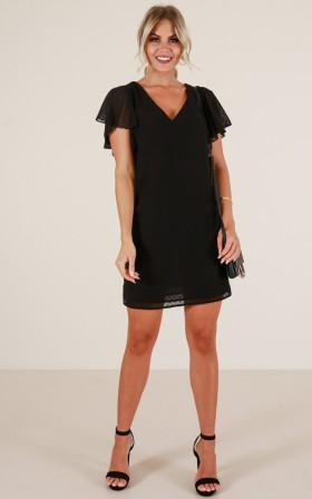Short Polyester Shift Polka Dot Print Little Black Dress