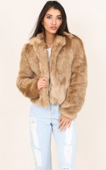 Harlow faux fur coat in beige