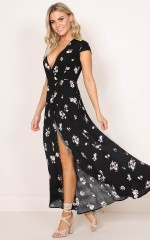 Wrap and Cross maxi dress in black floral
