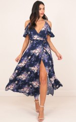 In The End maxi dress in navy floral