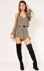 Cant Believe playsuit in khaki