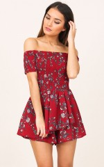 Florence playsuit in wine floral