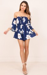 Follow Up playsuit in navy floral