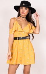 Young Ana dress in mustard floral