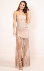 Sparkle Tonight maxi dress in gold