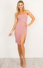Driving In dress in mauve