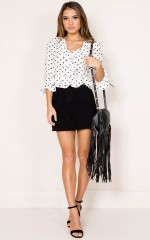 Brighter Than Gold top in white polka dot