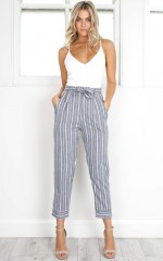 I Belong With You pants in grey stripe linen look