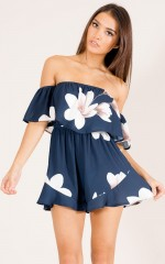 All Of These playsuit in navy floral