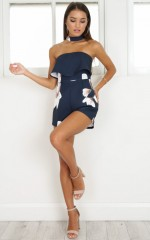 Anywhere But Here Playsuit in navy floral