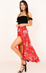 Back To Life skirt in red floral