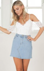 Be Young Be Happy crop top in white lace