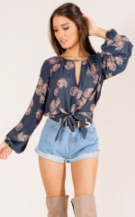 Best Decision top in navy print