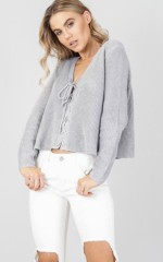Bottom Line knit sweater in grey marle