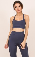 Breakthrough Crop Top in steel blue