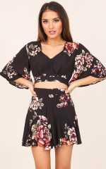Breathing In two piece set in black floral