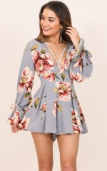 Careless Days playsuit in blue floral