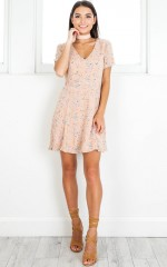 Casual Party dress in blush floral