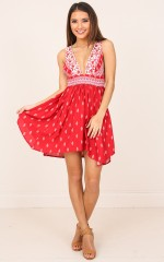 Chica dress in red print