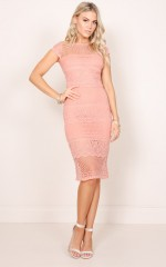 City Limits dress in peach crochet