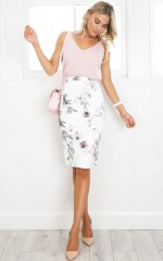 Claim It Back skirt in white floral