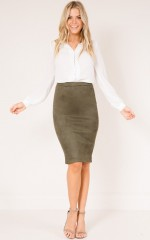 Close To Cove skirt in khaki suedette