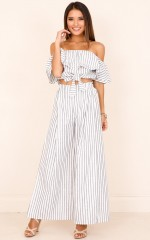 Count Your Lucky Stars two piece set in white stripe