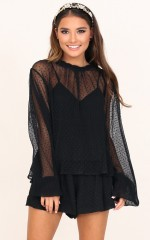 Dreamer Of Dreams Top in Black Mesh