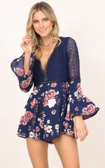 Drive You Crazy playsuit in navy floral