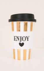 Enjoy ceramic travel mug in gold stripe