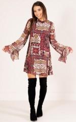 Esmerelda shift dress in wine print