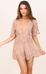 Face The Music playsuit in mocha lace
