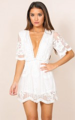 Face The Music playsuit in white lace