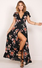 Feel The Burn maxi dress in black floral