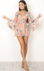 Floral Summer playsuit in apricot floral