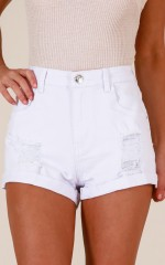 Further Back denim shorts in white