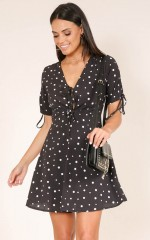 Get To It dress in black polka dot
