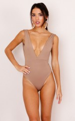 Go For It bodysuit in camel