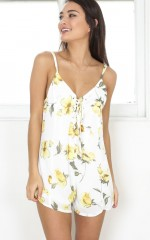 Grass Aint Greener playsuit in white floral