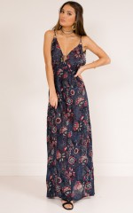 Hello Love maxi dress in navy floral