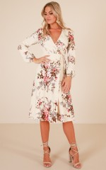 Hold The Line midi dress in cream floral