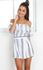How To Save A Life playsuit in light blue stripe