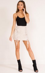 Inside Voices skirt in mocha suedette