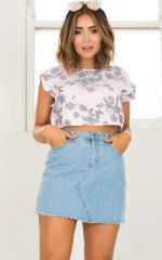 Just For Me crop top in lilac floral